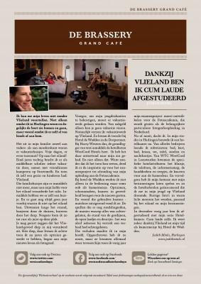 Voorblad nieuwe menukaart brassery Seeduyn Vlieland. Eind April 2016.