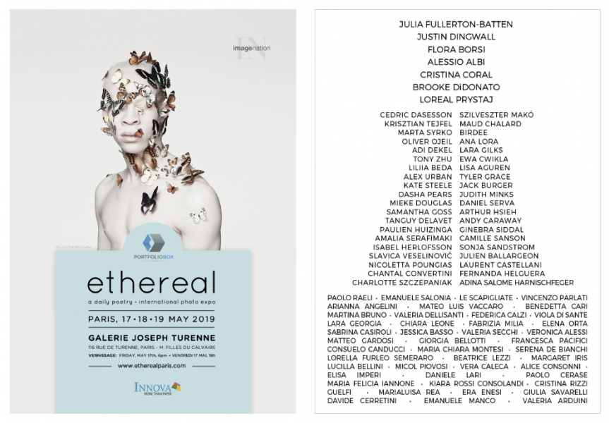 "flyer for ""ethereal"", exhibition in Paris, 17-18-19 may 2019, Galerie Joseph Turenne"