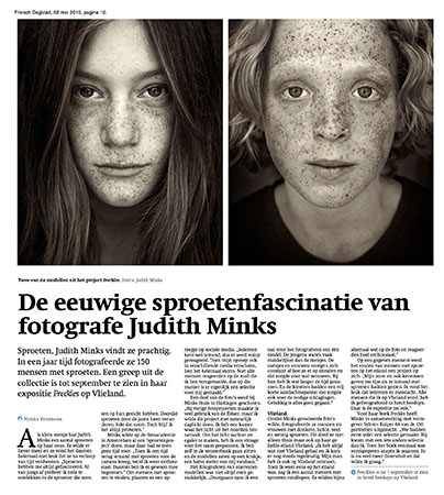 Friesch Dagblad newspaper article Freckles Judith Minks