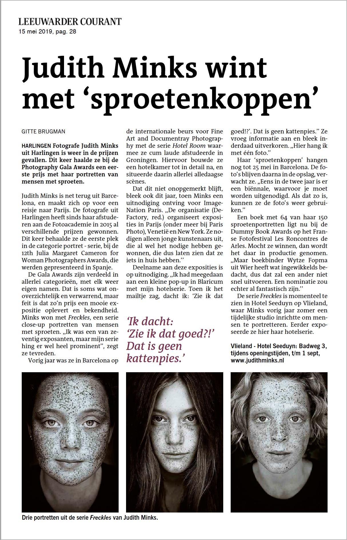 Judith Minks wint met sproetenkoppen - Leeuwarder Courant 15 mei 2019