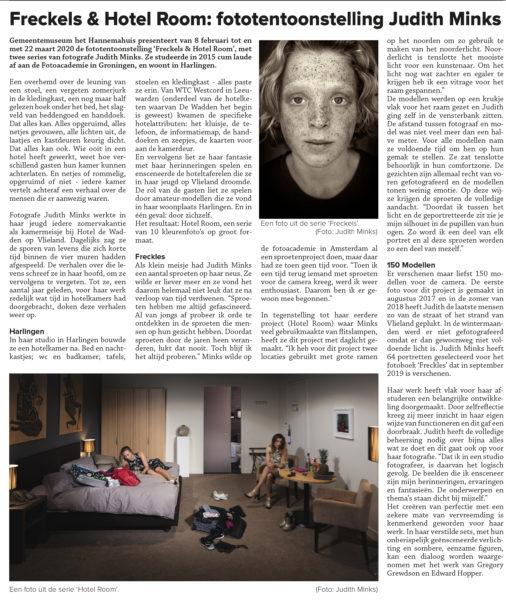Judith Minks Solo Expositie Freckles & Hotel Room in Museum Hannemahuis Harlingen